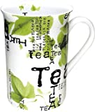 Konitz Tea Collage 10-Ounce Mugs, Set of 4, White/Green by Konitz