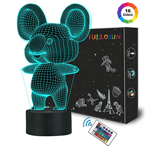 FULLOSUN 3D Koala Night Light Animal Illusion LED Lamp for Kids' Room Decoration with Remote Control 16 Color Changing Unique Xmas Halloween Birthday Gift for Child Baby Boy and Girl -