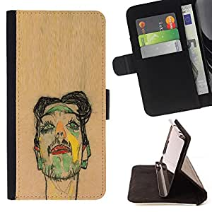 BullDog Case - FOR/Sony Xperia Z2 D6502 / - / ARTIST PAINTING SKETCH PORTRAIT BROWN /- Monedero de cuero de la PU Llevar cubierta de la caja con el ID Credit Card Slots Flip funda de cuer