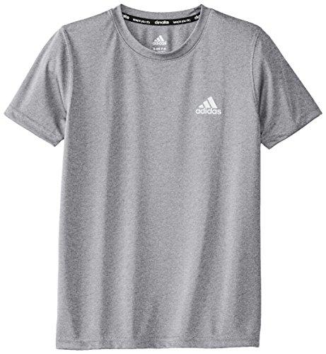 adidas Big Boys' Climalite Short Sleeve Tee, Medium Grey Heather, Small/8