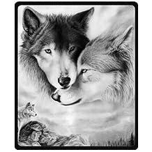 "black and white wolf Plush Throw Blanket Travel Blanket 50"" x 60"" (Medium)"