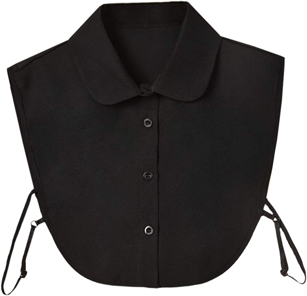 Shinywear Detachable Pointed Collar Classic Fake Doll Shirt Half Blouse for Women Office Lady Work Dickey Tops