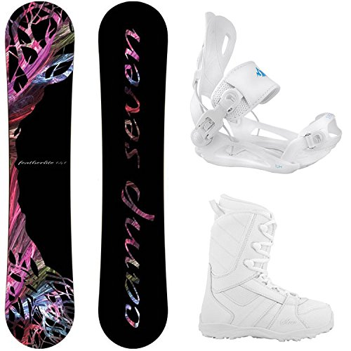 Camp Seven Featherlite 2021 with Lux Rear Entry Step in Style Bindings Women's Complete Snowboard Package
