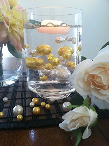 Vase Filler Pearls For Floating Pearl Centerpiece, 50 Gold/Ivory Pearls, Jumbo & Mix Size No Hole Pearls (Transparent Gel Beads Required To Create Floating Pearls Sold separately)