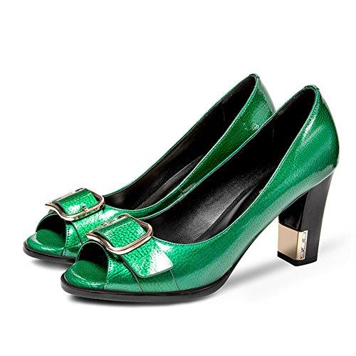 Peces Boca Tacones En Verano Viene Las Sandalias De La Se?ora,Europeo De Moda Peep Toe Sandalias De Las Mujeres,Espesor Con Zapatos Ligeros Verde