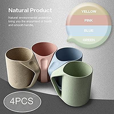 Agile-shop Eco Friendly Healthy Wheat Straw Plastic Mug for Water, Coffee, Milk, Juice, Tea (1pcs, fl.13.5oz, Blue) (4pcs, fl.13.5oz) (4 Cups)