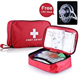 First aid Survival Kit (2018 New Version), 182 Pcs Compact for Emergency at Home, Workplace, Outdoors, Car, Camping, Hiking & Survival. Free CPR MASK Gift