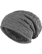 ALPIDEX Mössa vinter varm hatt kvinnor män lång stickad mössa mjuk fleecefodring