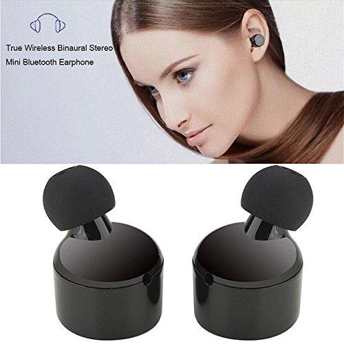 Mini True Wireless Bluetooth Twins, Stereo in-Ear Headset Earphone Noise-Isolating Earbuds (Black)