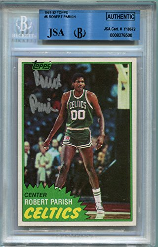 Boston Celtics Autographs (Robert Parish (HOF) Boston Celtics BGS/JSA Certified Authentic Autograph - 1981 Topps (Autographed Basketball)