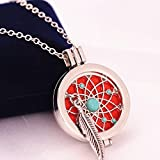 12 Set Antique Aromatherapy Oil Perfume Locket Dream Catcher Necklace Hollow Pendants Gift Mini Arts Craft Feathers Hanging Bedding Room Ornate Popular Dreamcatchers Girls Decor Car Wall Catchers Kit