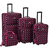 Rockland Luggage 4 Piece Luggage Set, Black/Pink Dot, One Size