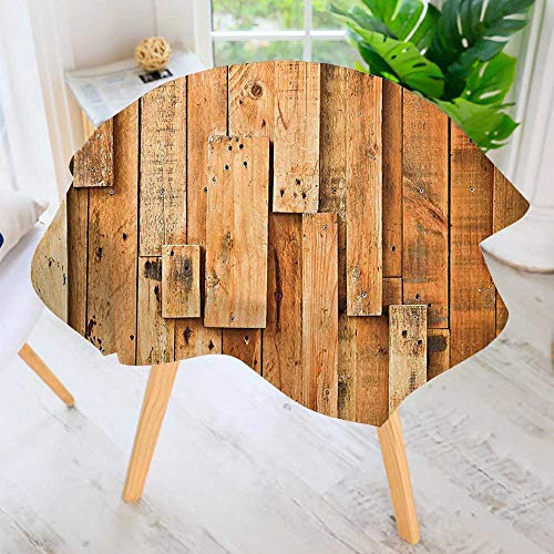 UHOO2018 Spring & Summber Tablecloth-Style Teak Hardwood Wall Planks Image Print Farmhouse Vintage Grunge Design Artsy Amber for Outdoor or Indoor Use, BBQs 67