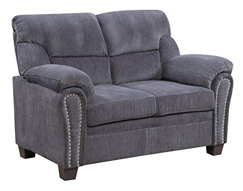 Chenille Seat - Furniture World Jefferson Love Seat, Gray Chenille Fabric