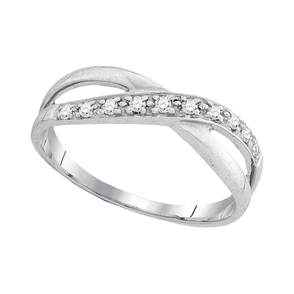 Diamond Infinity Ring Solid 10k White Gold Love Knot Band Fashion Style Polished Finish Fancy 1/10 ctw by GemApex