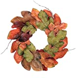 Sullivans 6.5'' Large Leaf Accent Ring Beautiful Fall Color Leaves surround a 6.5'' Ring to Hang on your Wall or as a Centerpiece on your Table brings warmth and seasonal glow to your fall decor!