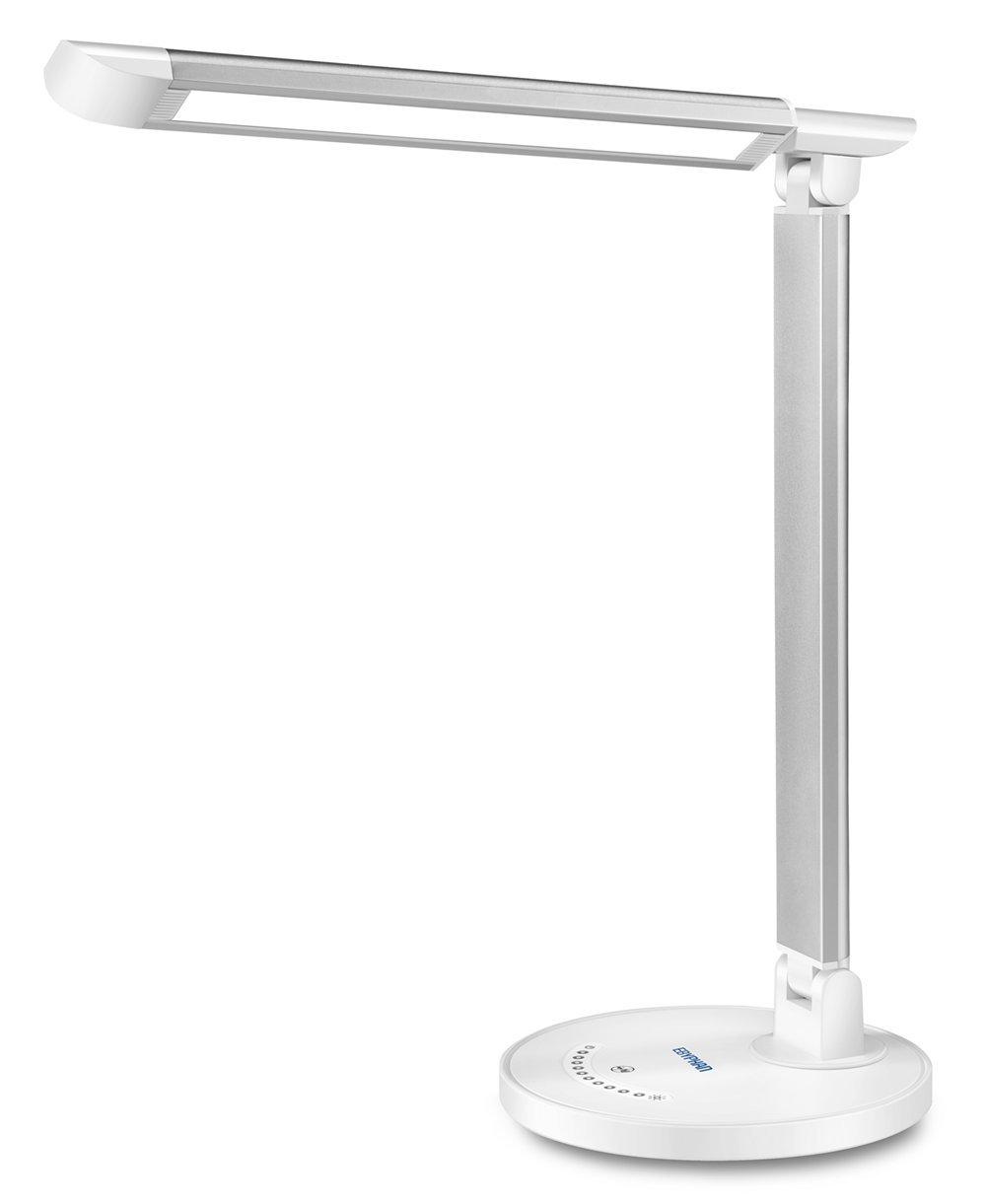 Ebyphan Lampe de Bureau LED Dimmable, Lampe de Lecture avec Port USB, Lampes de Table Ré glable (Contrô le Tactile, 5 Modes de Couleurs, 7 Niveaux de Luminosité , 12W) Lampes de Table Réglable (Contrôle Tactile 7 Niveaux de Luminosité
