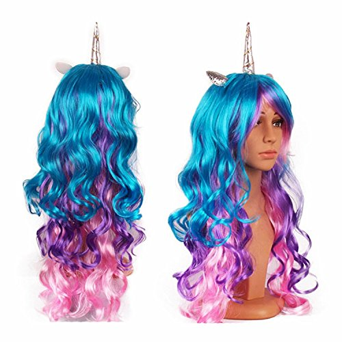 Unicorn Rainbow Wig Long Curly Hair Unicorn Cosplay Wig with Horn and Ears Colorful Wig for Halloween Party or Costume Fits for Kids, Teen Girl and -