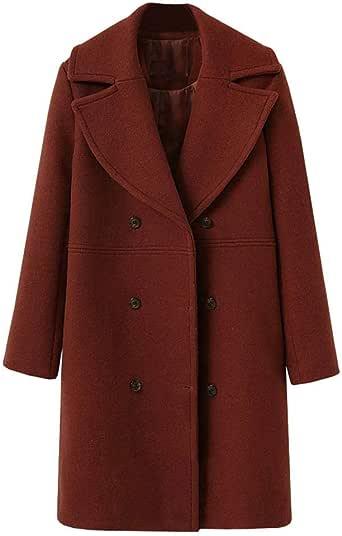 FELZ Abrigos Mujer Invierno Abrigo,Abrigo de Lana de Gran tamaño Abrigo Largo de Lana Cortaviento para Mujer