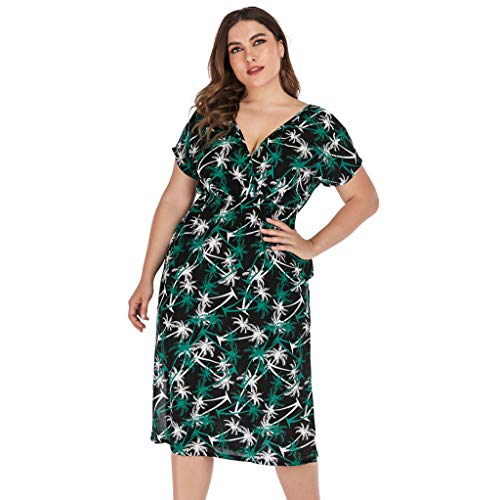 Goddessvan 2019 Womens Plus Size Fit and Flare Empire Waist Floral Printed Sleeveless Dress V Neck Sundress Green