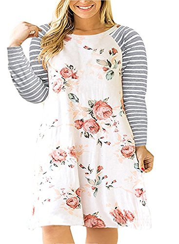 Womens Plus Size Floral T Shirt Dresses Striped Raglan Short Sleeve Casual Summer Midi Dress (XX-Large, Z-White)