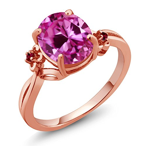 3.28 Ct Oval Pink Created Sapphire Red Created Ruby 14K Rose Gold Ring (Ring Size 6) Pink Rose Gold Ruby