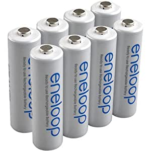 eneloop (3rd gen) AA 1800 Cycle, Ni-MH Pre-Charged Rechargeable Batteries, 8 Pack w/ battery holder - (discontinued by manufacturer)