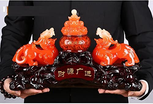 Wenmily Large Size Feng Shui Pi Yao Pi Xiu and Treasure Basin Wealth Porsperity Figurine Free Set of 10 Lucky Charm Ancient Coins on Red String, Best Housewarming Congratulatory Gift Large Size