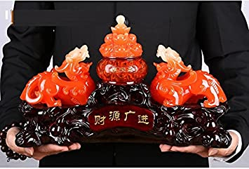 Large Size Feng Shui Pi Yao Pi Xiu and Treasure Basin Wealth Porsperity Figurine Free Set of 10 Lucky Charm Ancient Coins on Red String, Best Housewarming Congratulatory Gift Large Size