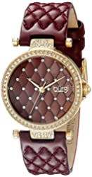 Burgi Women's BUR154BUR Yellow Gold Quartz Watch with Swarovski Crystal Accents and Burgundy Dial With Burgundy Quilted Satin Strap