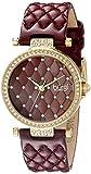 quilted dial watch - Burgi Women's BUR154BUR Yellow Gold Quartz Watch with Swarovski Crystal Accents and Burgundy Dial With Burgundy Quilted Satin Strap