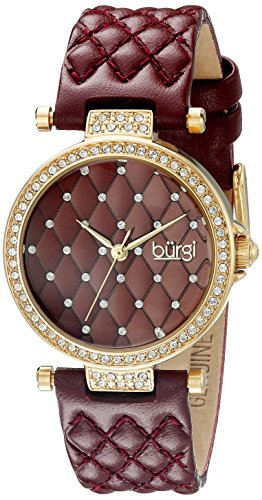 Burgi Women's BUR154BUR Yellow Gold Quartz Watch with Swarovski Crystal Accents and Burgundy Dial with Burgundy Quilted Satin Strap (Dial Womens Yellow)