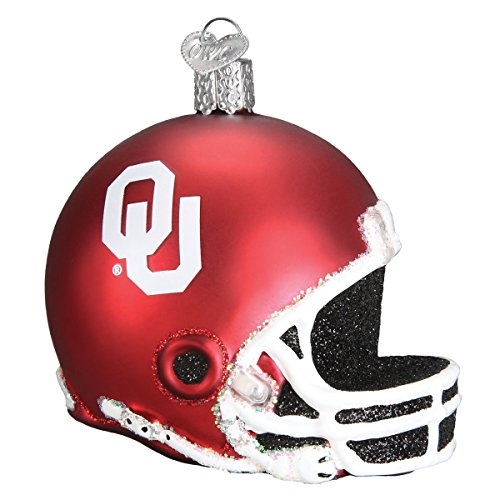 Old World Christmas Glass Blown Ornament with S-Hook and Gift Box, College Football Helmet Collection (Oklahoma) ()