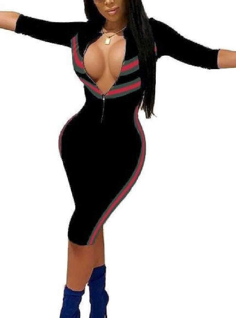 OTW Womens Club Summer Zipper Print 3//4 Sleeve Bodycon Romper Jumpsuits