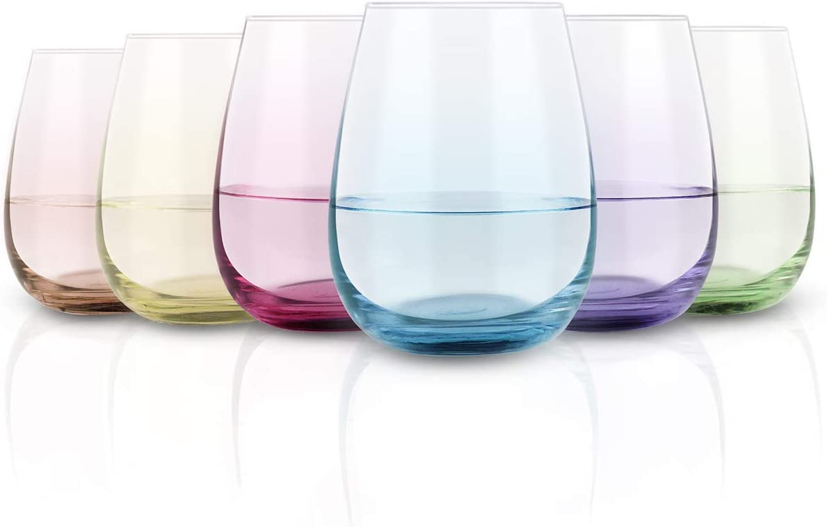 Colored Stemless Wine Glass Set of 6, Vibrant Splash Wine Glasses with Colored Bottom for Women Men Friends Sister, Good Gift Idea for Festival Wedding Birthday Party, 15 Oz