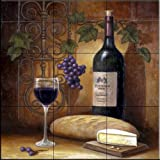 Ceramic Tile Mural - Wine And Cheese A - by John Zaccheo - Kitchen backsplash / Bathroom shower