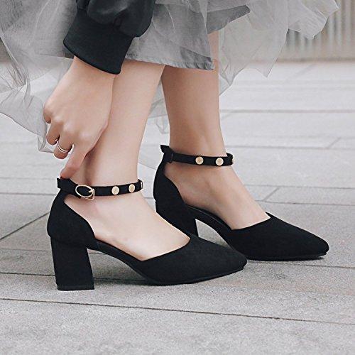JUWOJIA Señaló Verano Tacones Cuadrados Remaches Hebilla De Tobillo High-Heeled Mujer Sandalias Sandalias De Mujeres 3 Color Negro