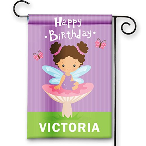 Happy Birthday Girls Kids Pink Fairy Princess Party Flag Personalized Garden Flag Yard Sign Banner Decor Decoration PERSONALIZE with Child Name (Names Fairy Garden)