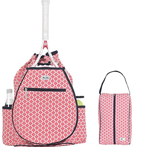 Ame & Lulu Kingsley Women's Tennis Backpack bundled with a Raleigh Shoe Bag, Clover Oversize Tennis Bag