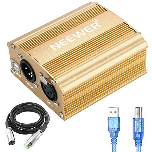 Neewer 1-Channel 48V Phantom Power Supply with 5 feet USB Cable, XLR 3 Pin Microphone Cable for Any Condenser Microphone Music Recording Equipment (Golden)
