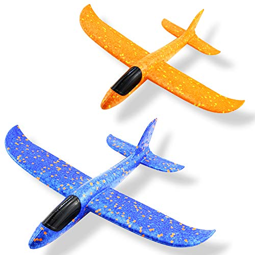 Weoxpr 2 Pack 35cm Soft Foam Airplane, Manual Throwing Inertial Plane Model for Outdoor Sports Toy & Kids Toys ()