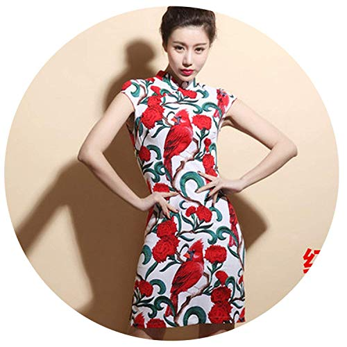 Shining4U Dresses Summer Retro Vestido Chines Qipao Short Traditional Chinese Dresses Cheongsam,XX-Large,15