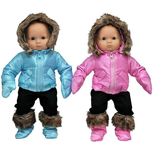 (The Queen's Treasures Set of Two Complete Bitty 15 Inch Baby Doll Twin Pink & Blue Winter Clothes. Two 6 Piece Outdoor Ski Outfits Fits Bitty Baby Twins)