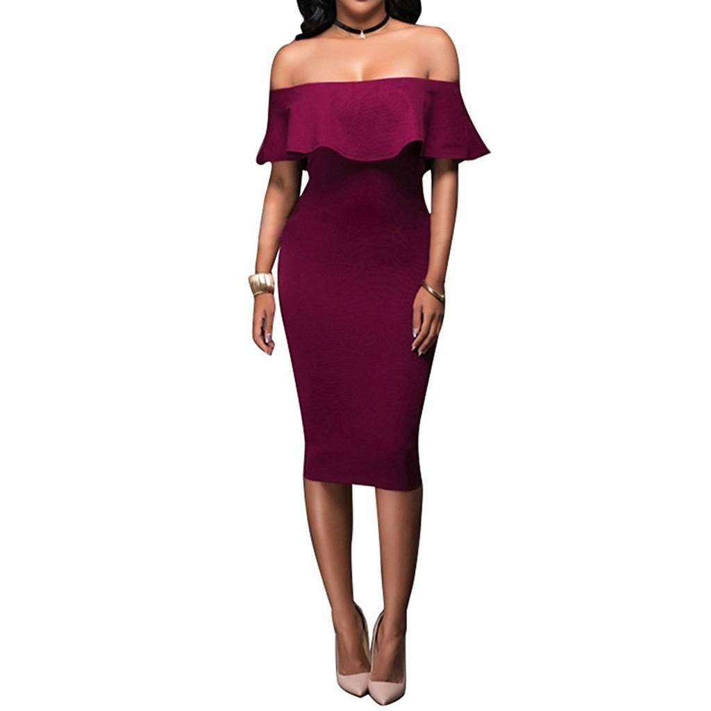 0372cefc5c4 Women s Off Shoulder Ruffles Back Split Slim Stretch Cocktail Party Bodycon  Midi Dress at Amazon Women s Clothing store