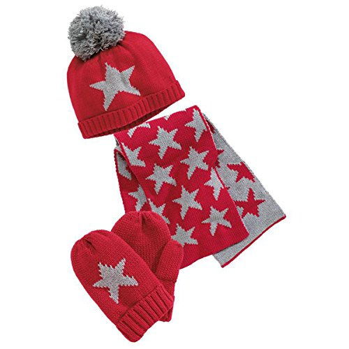 Warm Baby Boys Girls Hat Scarf Set Cute Knitted Cotton Hats(Red) - 4