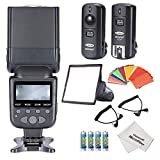 Neewer ETTL LCD Screen Display Camera Slave Flash Speedlite Kit for Canon DSLR Cameras: (1)NW690/MK950II Flash + (1)Dome Softbox + (1)Wireless Flash Trigger + (1)35-piece Color Gel Filter