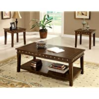 Furniture of America 3-Piece Stevenson Table Set, Walnut Finish