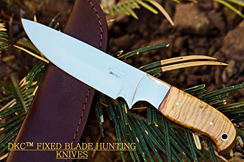 DKC Knives (0 6/18) SALE DKC-511-440c TRAIL BLAZER Fixed Blade Stainless Steel Hunting Knife Olive Wood Burl Handle 9