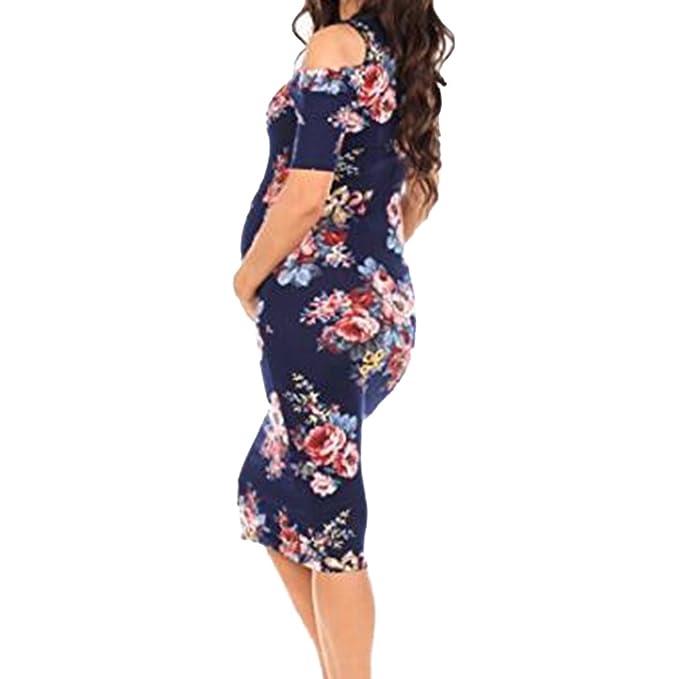 Yying Vestido de Cuello Redondo y Hombros Descubiertos, Vestido de Manga Corta para Embarazadas: Amazon.es: Ropa y accesorios