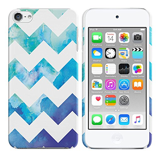 FINCIBO Case Compatible with Apple iPod Touch 5 6, Back Cover Hard Plastic Protector Case Stylish Design for iPod Touch 5 6th Generation - Blue Watercolor Chevron (Ipod 5 Water Case Design)